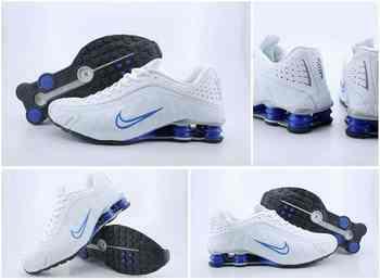 wholesale dealer 9ced3 9de77 Chaussures Nike Shox R4 Homme H23 Bleu Blanc