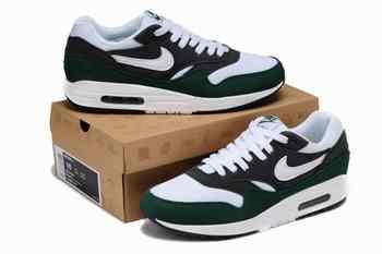 outlet store 36254 faf4f ... 2014 Hommes Nike Air Max 1 1 Chaussures de course Blanc Vert Noi ...